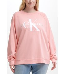 calvin klein jeans trendy plus size plastisol monogram logo sweatshirt