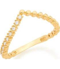 anel skinny ring aro curvado em v esferas e zircônias rommanel