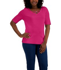 karen scott cotton v-neck hardware top, created for macy's