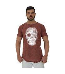 camiseta longline alto conceito forest skull nuno marrom