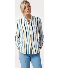 blouse mona offwhite::lichtblauw