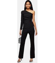 black flared trousers - black