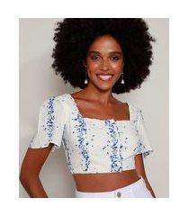 blusa feminina cropped estampada floral com botões manga curta decote reto off white