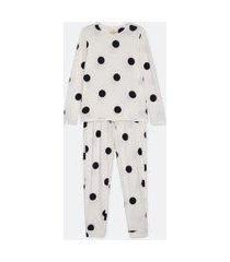 pijama blusa manga longa e calça com estampa poá toque suave | lov | branco | g