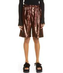 women's meryll rogge sequin paperbag waist shorts, size 4 us - brown