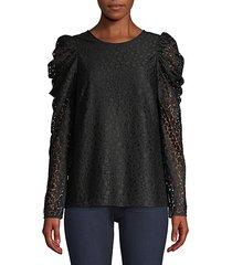 flora puff-sleeve lace blouse