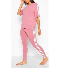 side stripe t-shirt leggings lounge set, rose
