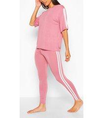 t-shirt met zijstreep en leggings lounge set, rose
