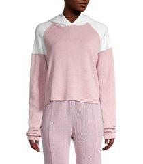 wildfox women's eva colorblock hoodie - crush vanilla - size l