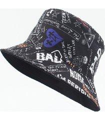 gorra de pescador con estampado de graffiti de moda para hombre