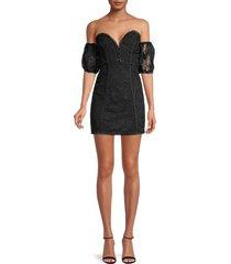 for love & lemons women's azalea lace strapless mini dress - black - size m