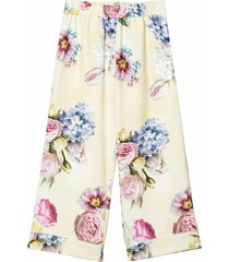 monnalisa floreal print turn up cuff trousers