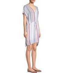 wren striped linen-blend tunic dress