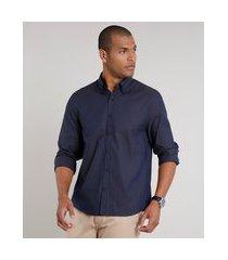 camisa masculina comfort maquinetada manga longa azul marinho