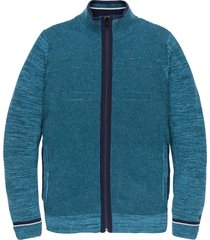 zip jacket cotton mouline slub lyons blue