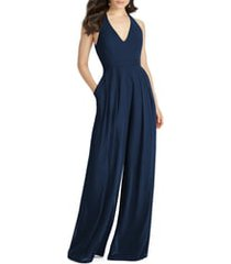women's dessy collection arielle v-neck lux chiffon jumpsuit, size 10 - blue