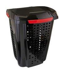 cesto de roupas astra rb5 vazado 70 litros preto e bordô