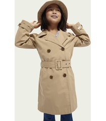scotch & soda longline cotton-blend trench coat