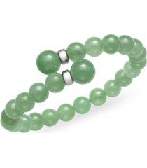 green jade (16 mm) wrap open bangle bracelet in sterling silver