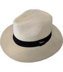 chapéu chapelaria vintage moda panamá palha shantung - aba média - kanui
