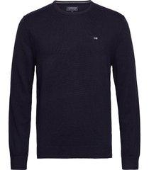 bradley crew neck sweater stickad tröja m. rund krage blå lexington clothing
