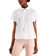 alfani cotton collared top, created for macy's
