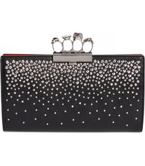 alexander mcqueen studded knuckle clasp leather clutch -