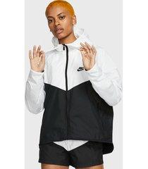 chaqueta nike w nsw wr jkt blanco negro - calce regular