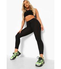 leggings met strik en geribbelde zoom, black