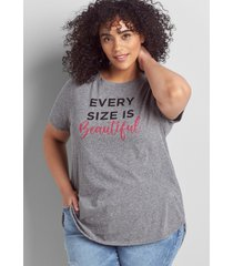 lane bryant women's beautiful graphic tee with curved high-low hem 14/16 medium heather grey