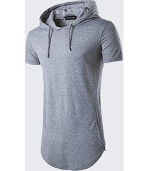 t-shirt manica corta in tinta unita con cerniera laterale con coulisse con cappuccio stile estivo da uomo