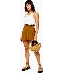 tan linen blend paperbag shorts - tan