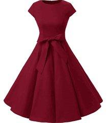 plus size retro belted swing dress