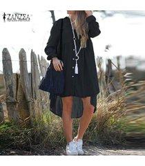 zanzea mujeres botones camisa de vestir larga de down casual tamaño alto bajo mini vestido plus -negro