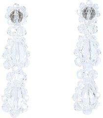 clear beaded short drop earrings