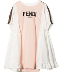 fendi pink and white cotton blend dress