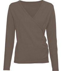 pullover met v-hals in bio-kwaliteit, taupe 40