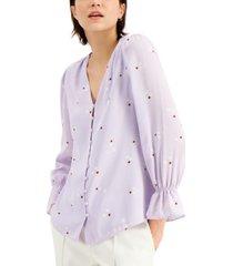 alfani printed v-neck poet blouse, created for macy's