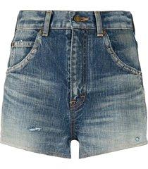 saint laurent destroyed denim shorts - blue