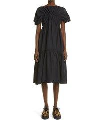 women's molly goddard raphaela gathered tiered midi dress, size 8 us - black