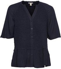 blouses woven blouses short-sleeved blå edc by esprit