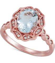 aquamarine (1-1/2 ct. t.w.) & diamond (1/8 ct. t.w.) statement ring in 10k rose gold