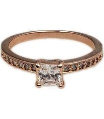 anel papillô joias meia aliança zircônia quadrada, em ouro rosê 18k