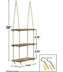 sorbus 3 tier wood hanging shelf