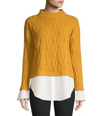 cropped mixed media 2fer shirt sweater