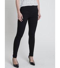 calça legging feminina estampada de poá em jacquard preta