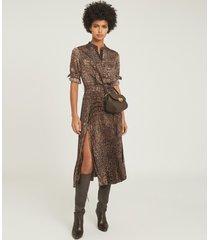reiss avianna - croc print midi dress in brown, womens, size 14