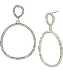 kenneth cole new york silver-tone pave gypsy hoop earrings