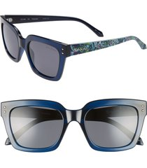 women's lilly pulitzer celine 54mm polarized square sunglasses - navy crystal/ solid smoke
