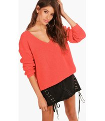 oversized v neck sweater, coral